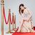 güzel · bir · kadın · kırmızı · halı · moda · elbise · oturma · sandalye - stok fotoğraf © deandrobot