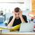 疲れ · ビジネスマン · 書類 · デスク · 小さな - ストックフォト © deandrobot
