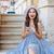 lächelnde · Frau · blau · Kleid · Foto · Retro - stock foto © deandrobot