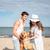 romantik · ayakta · gülme · plaj · gün · batımı - stok fotoğraf © deandrobot