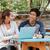 szczęśliwy · studentów · za · pomocą · laptopa · wraz · kobieta · kawy - zdjęcia stock © deandrobot