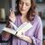 portré · nő · olvas · könyv · bent · koncentrált - stock fotó © deandrobot