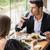 couple drinking wine in restaurant stock photo © deandrobot