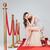 kadın · cam · şampanya · kırmızı · halı - stok fotoğraf © deandrobot