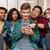 sorridente · moço · amigos · telefone · móvel · juntos · sessão - foto stock © deandrobot