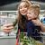 vrouw · handen · smartphone · vruchten · gezond · eten - stockfoto © deandrobot