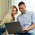 mutlu · çift · dizüstü · bilgisayar · kullanıyorsanız · birlikte · ev · bilgisayar - stok fotoğraf © deandrobot