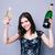 улыбающаяся · женщина · стекла · вино · вечеринка - Сток-фото © deandrobot