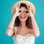 portré · fiatal · barna · hajú · nő · tengerpart · kalap - stock fotó © deandrobot