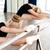 nő · tanít · nyújtás · kislány · ballerina · balett - stock fotó © deandrobot