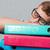 álmos · diák · szemüveg · mappák · alszik · izolált - stock fotó © deandrobot