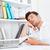 empresario · mentiras · cabeza · escritorio · dormir · blanco - foto stock © deandrobot