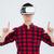 feliz · barbado · hombre · virtual · realidad - foto stock © deandrobot