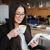geslaagd · zakenvrouw · koffie · smartphone · kantoor · jonge - stockfoto © deandrobot