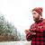 молодые · красивый · мужчина · снега · лице · человека - Сток-фото © deandrobot