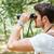 徒步旅行者 · 看 · 雙筒望遠鏡 · 享受 · 壯觀 · 視圖 - 商業照片 © deandrobot