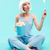 full length of young woman with marshmallows and magic wand stock photo © deandrobot