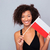 afro american woman holding poland flag stock photo © deandrobot