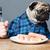 голодный · молодым · человеком · сидят · таблице · глядя · пончик - Сток-фото © deandrobot