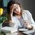 zmęczony · kobieta · interesu · tabeli · biuro · twarz - zdjęcia stock © deandrobot