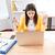 jonge · vrouw · wanhopig · laptop · home · communicatie · stress - stockfoto © deandrobot