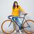 feliz · mulher · em · pé · bicicleta · retrato - foto stock © deandrobot