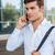 男 · 携帯電話 · 徒歩 · 通り · 若い男 · 携帯電話 - ストックフォト © deandrobot