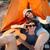 boldog · pár · biciklik · pihen · okostelefon · együtt - stock fotó © deandrobot