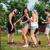 feliz · amigos · dança · verão · festa · jardim - foto stock © deandrobot