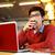 幸せ · 男 · 作業 · ノートパソコン · 飲料 · コーヒー - ストックフォト © deandrobot