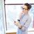 деловая · женщина · рабочих · счастливым · служба · бизнеса - Сток-фото © deandrobot