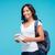 diák · lány · portré · tart · könyvek · hátizsák - stock fotó © deandrobot