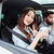 smiling couple in car with coffee stock photo © deandrobot
