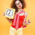 vertical image of bright model with clock stock photo © deandrobot