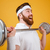 close up portrait of an excited bearded fitness man workout stock photo © deandrobot
