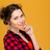 クローズアップ · 肖像 · かなり · 若い女性 · 黄色 · シャツ - ストックフォト © deandrobot