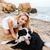 mujer · perro · terrier · propietario · blanco - foto stock © deandrobot