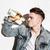homem · em · pé · piso · potável · álcool · posando - foto stock © deandrobot