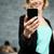魅力のある女性 · スマートフォン · 魅力的な · 小さな · 送信 - ストックフォト © deandrobot