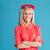 derűs · mosolyog · lány · vörös · ruha · beszél · retro - stock fotó © deandrobot