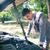 incidente · auto · albero · strada · foresta · arancione - foto d'archivio © deandrobot