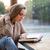 девушки · чтение · книга · кафе · портрет · очаровательный - Сток-фото © deandrobot