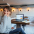 alegre · mulher · sessão · café · risonho · mulher · jovem - foto stock © deandrobot