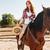 equitación · caballo · pradera · jóvenes · mujer · bonita - foto stock © deandrobot