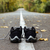 close up new black running shoes on asphalt road stock photo © deandrobot