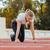 kezdet · pozició · útvonal · jogging · sport · nő - stock fotó © deandrobot