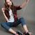 vrouw · zelfportret · tablet · gelukkig · volwassen - stockfoto © deandrobot