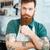 portre · sakallı · erkek · barista · ayakta · kahvehane - stok fotoğraf © deandrobot
