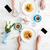 eller · adam · kadın · içme · kahve · kruvasan - stok fotoğraf © deandrobot