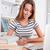 dość · kobiet · student · laptop · książek · pracy - zdjęcia stock © deandrobot